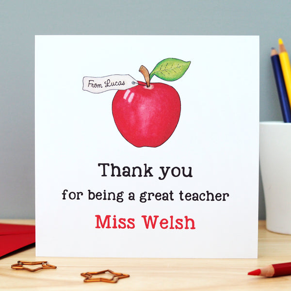 Personalised Teacher Thank You Card - Apple
