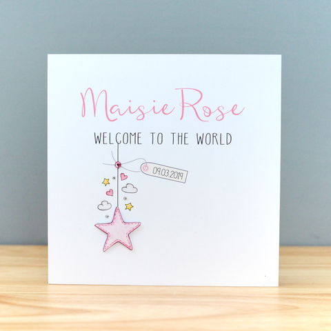 Handmade Personalised Baby Girl Card - Welcome to the World Card - New Baby Card