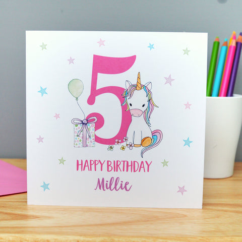 Handmade Personalised Unicorn Birthday Card. 2nd, 3rd, 4th, 5th, 6th, 7th, 8th, 9th