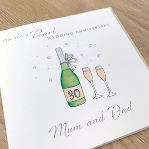Personalised Pearl Wedding Anniversary Card - 30th Anniversary Card