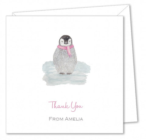 Personalised Christmas Thank You Card Packs – Penguin Watercolour Pink