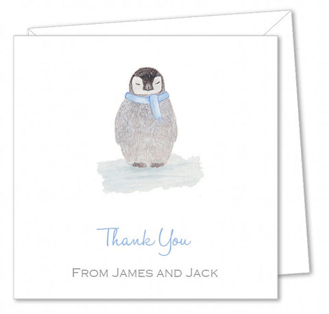 Personalised Christmas Thank You Card Packs – Penguin Watercolour