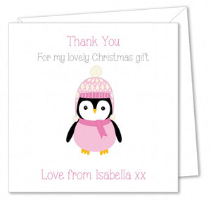 Personalised Christmas Thank You Card Packs – Pink Penguin
