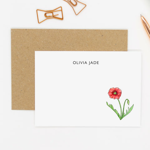 Personalised Poppy Notecards - Personalised Wildflower Notecards