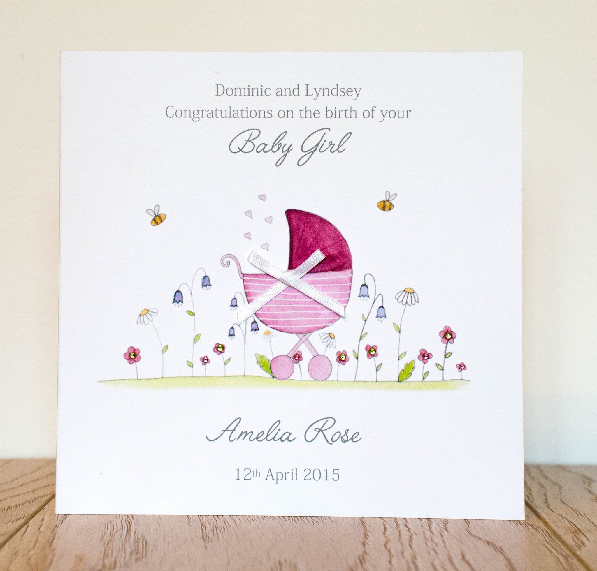 Personalised New Baby Girl Card - Watercolour Pram