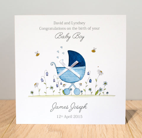 Personalised New Baby Boy Card - Watercolour Pram