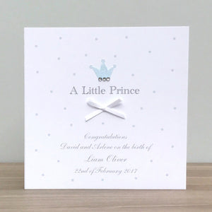 Handmade Personalised Little Prince Baby Boy Card