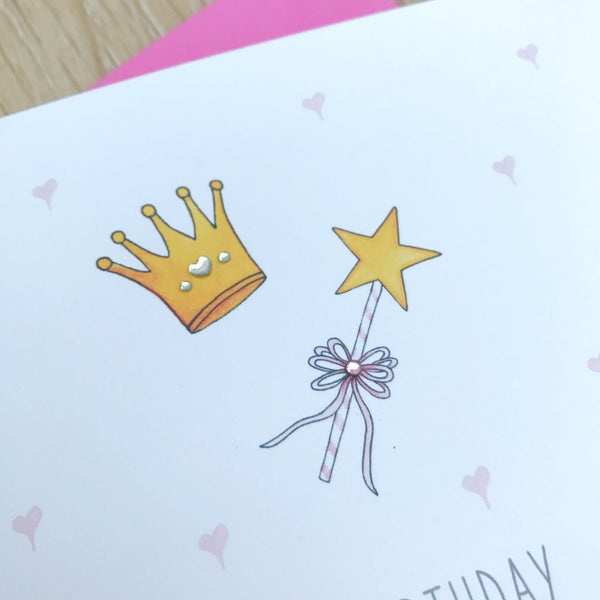 Personalised Girls Princess Birthday Card –  To a little princess