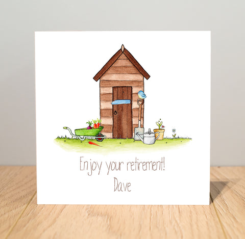Personalised Retirement Card – Shed, Gardener, Gardening