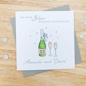 Handmade Personalised Silver Wedding Anniversary Card - Wine Bottle