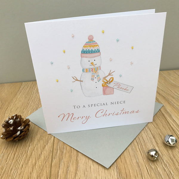 Personalised Christmas Card - Snowman