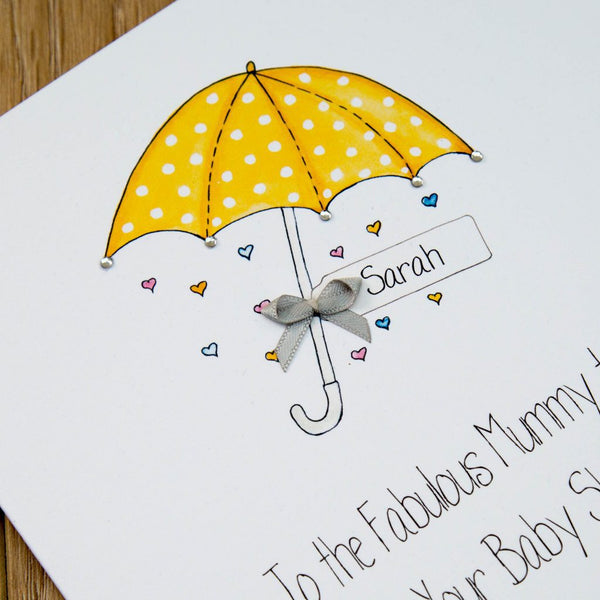 Personalised Handmade Baby Shower Card – Yellow Umbrella Parasol
