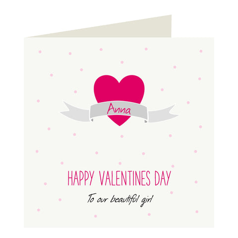 Childrens Personalised Valentine's Card with a name