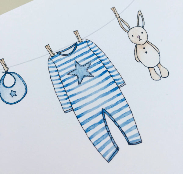Personalised Handmade New Baby Boy Card – Washing Line