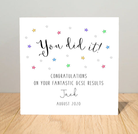 Personalised You Did It! Well Done Card - Passed your Exams Card - A Level, GCSE, Highers