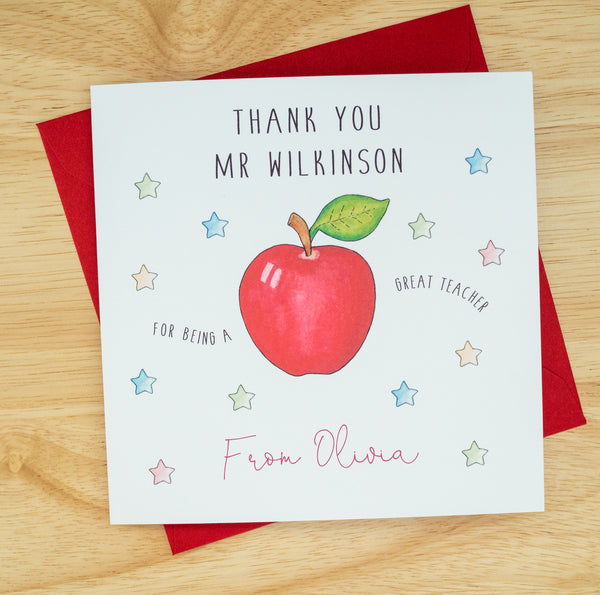 Personalised Teacher Thank You Card - Teacher, Teaching Assistant
