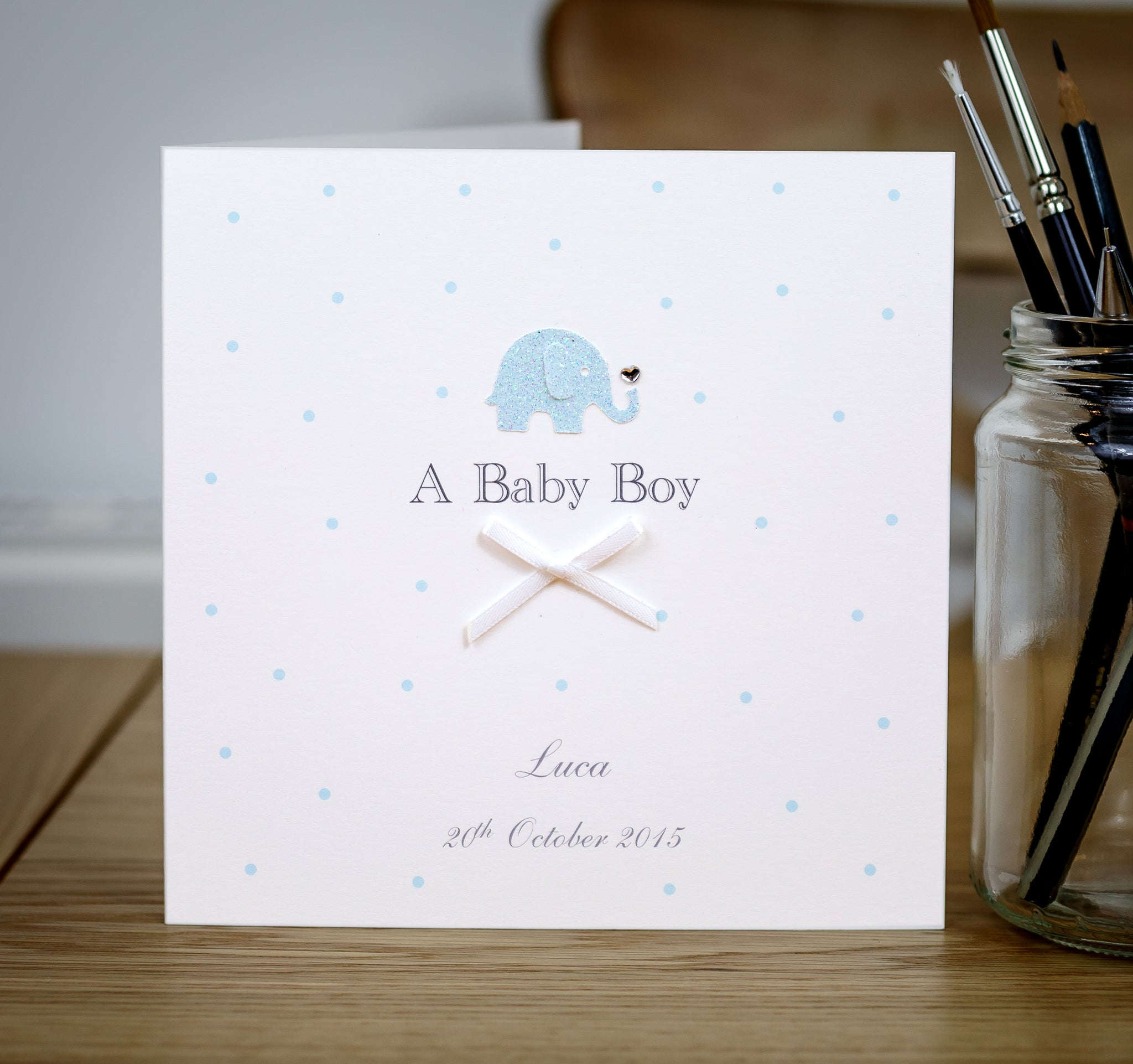 Handmade Personalised Baby Boy Card – Elephant