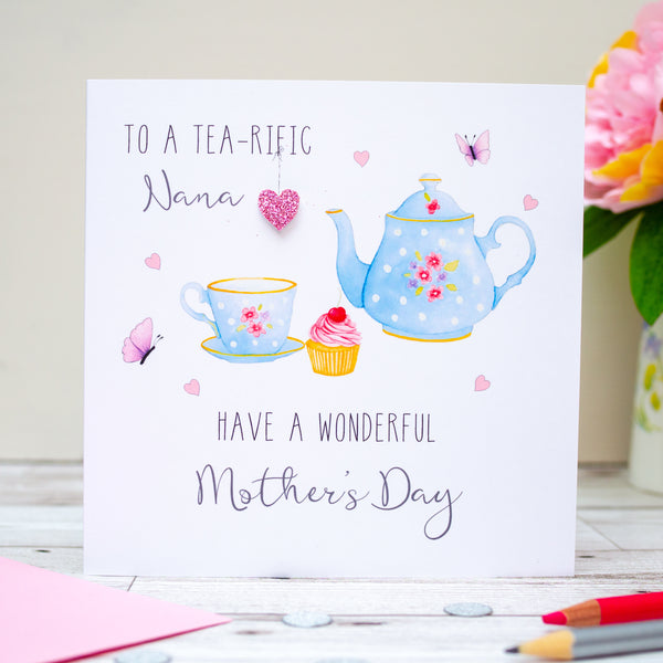 Handmade Personalised Teapot Mother's Day card - Tea Lovers Card