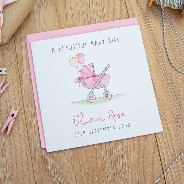 Personalised Baby Girl Card - New Baby Girl Card