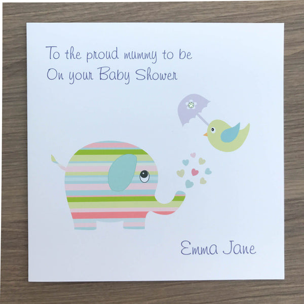 Handmade Personalised Baby Shower Card – Candy Stripe Elephant