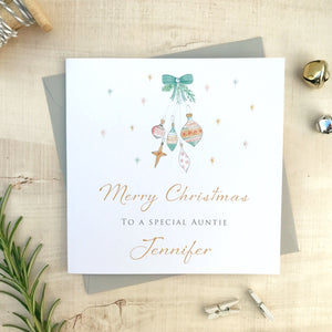 Personalised Christmas Card - Baubles