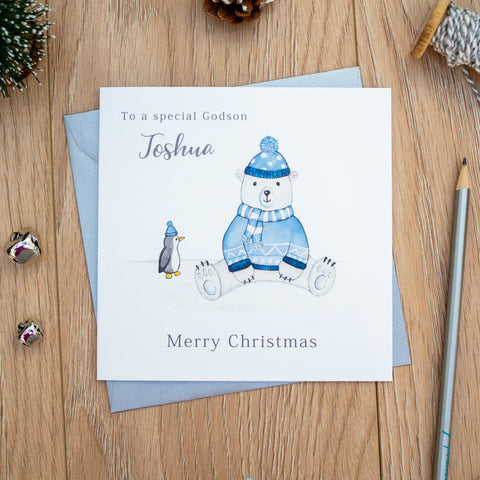 Personalised Boys First Christmas Card - Polar Bear