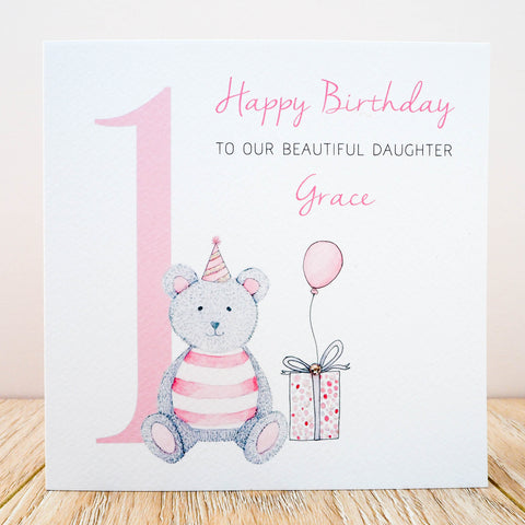 Personalised Girls Birthday Card - Teddy Bear