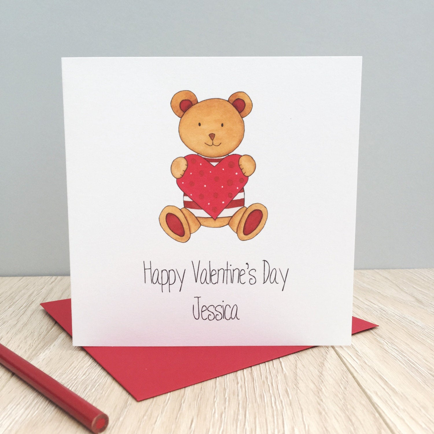 Personalised Valentine's Day Card – Teddy Bear great for Daughter, Son