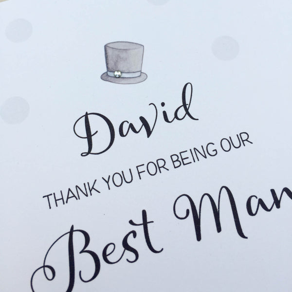Personalised Handmade Best Man Thank You Card - Usher