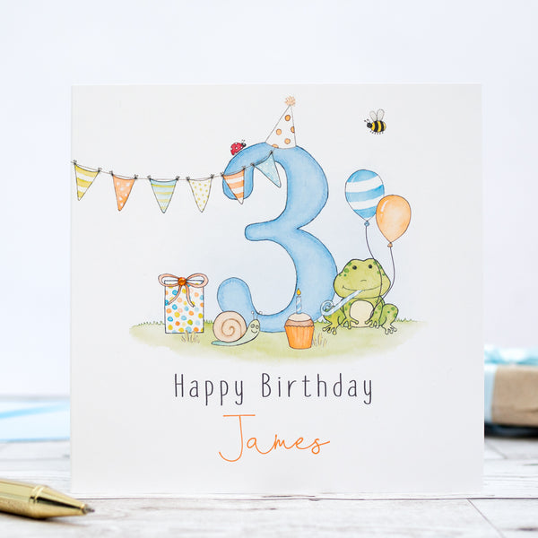 Personalised Boys Birthday Card – Frog 1st, 2nd, 3rd, 4th, 5th, 6th, 7th