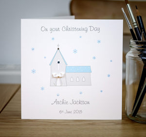 Handmade Personalised Christening Card - Boys
