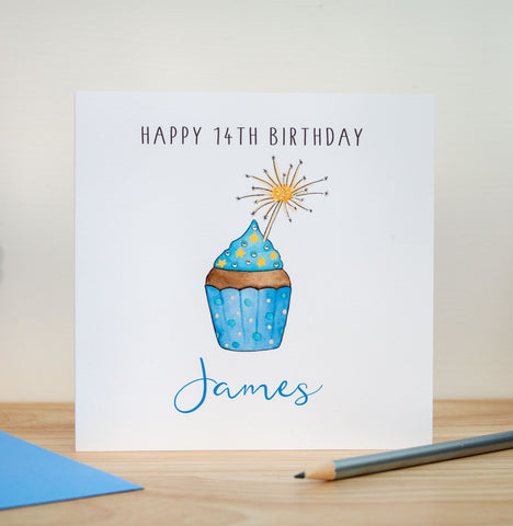 Personalised Birthday Card - Blue Cake - Any Age - 18th, 30th, 40th, 50th