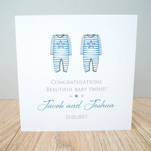 Handmade Personalised Baby Twins Card