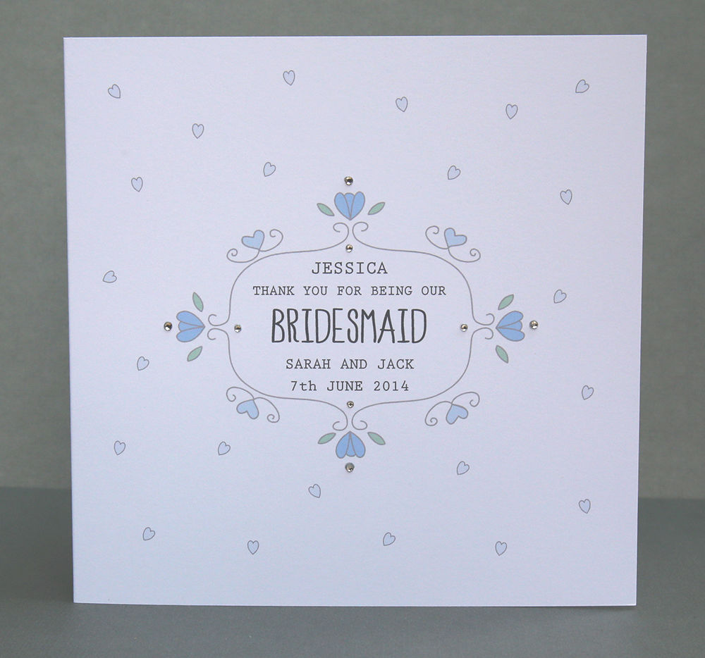 Personalised Handmade Bridesmaid Thank you Card