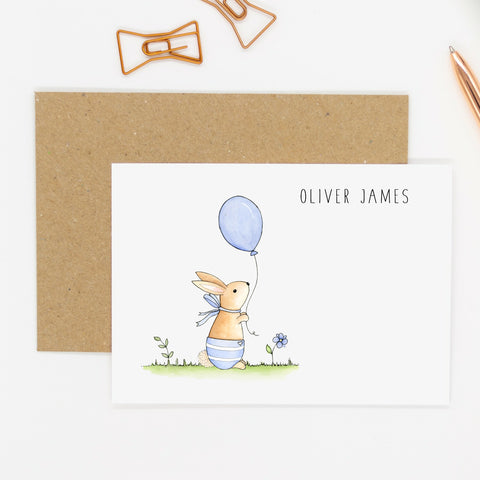 Personalised Bunny Notecards - Personalised Baby Notecards - Baby Boy Notecards