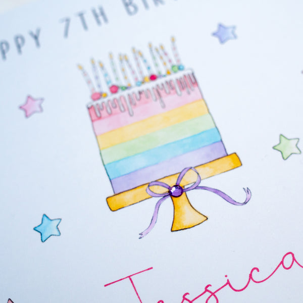 Personalised Birthday Card – Rainbow Cake Card