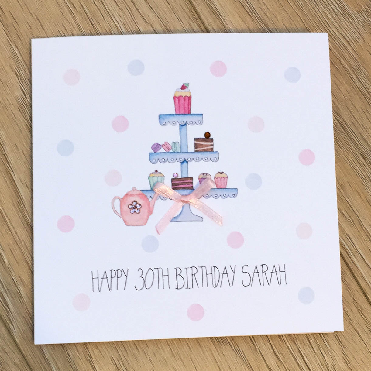 Personalised Handmade Birthday Card – Afternoon Tea and Cake