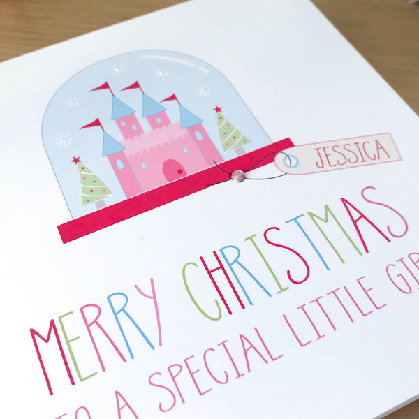 Personalised Handmade Girls Christmas Card - Princess castle