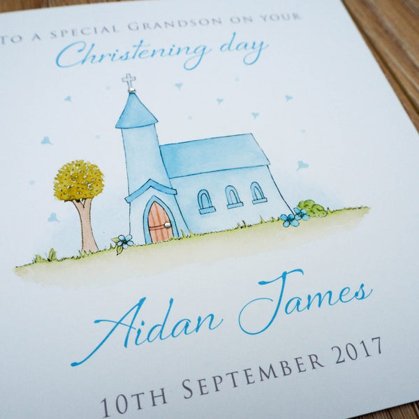 Personalised Handmade Christening Card – Son, Grandson, Godson, Nephew