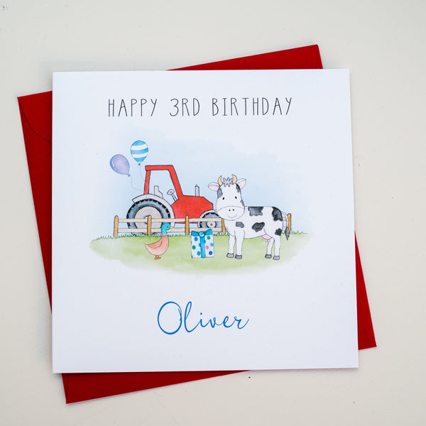 Personalised Childrens Birthday Card – Tractor and cow on a farm