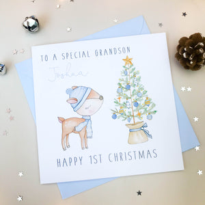 Personalised Boys First Christmas Card - Deer