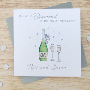 Handmade Personalised Diamond Wedding Anniversary Card - Wine Bottle