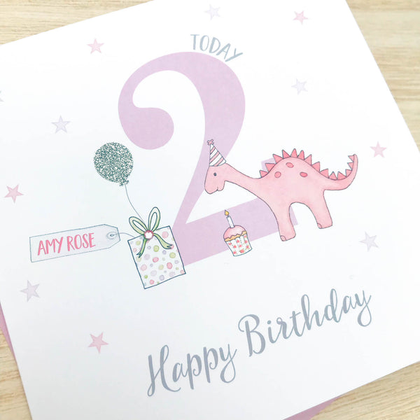 Personalised Handmade  Girls Dinosaur Birthday Card, 1st, 2nd, 3rd, 4th, 5th, 6th, 7th, 8th