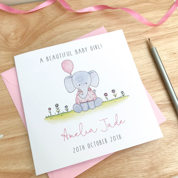 Personalised Baby Girl Card - Handmade New Baby Girl Card - Elephant