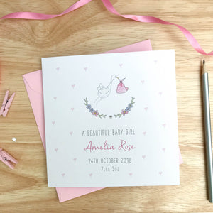 Personalised New Baby Girl Card - Stork New Baby Card