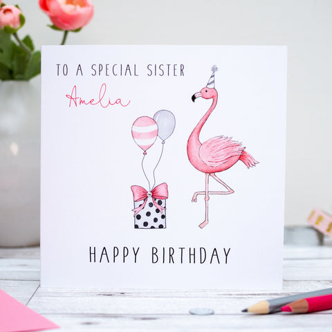 Personalised Flamingo Birthday Card - Daughter, Granddaughter, Sister