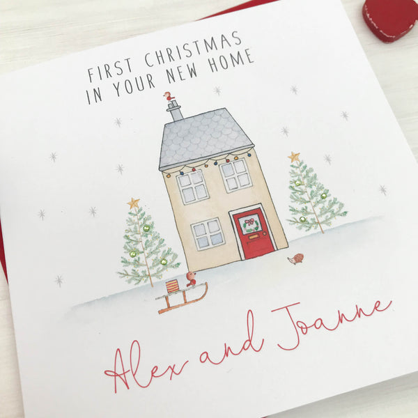 Personalised First Christmas in New Home Card - House