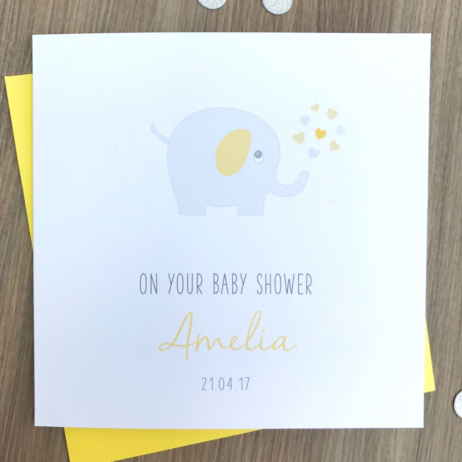 Personalised Handmade Baby Shower Card – Blue, Pink or Yellow Elephant