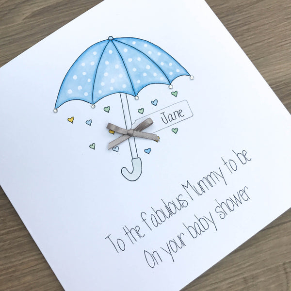 Personalised Handmade Baby Shower Card – Blue Umbrella Parasol