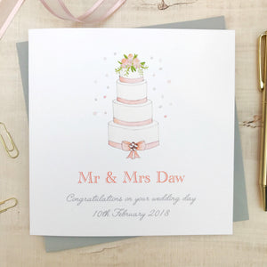 Personalised Handmade Wedding Card - Watercolour Cake